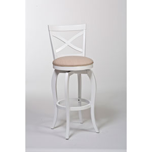 Ellendale White Swivel Counter Stool