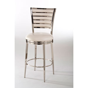 Rouen Shiny Nickel Swivel Counter Stool