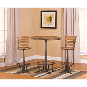 Westview Steel Gray and Black Oak Bistro Table with Westview Stools