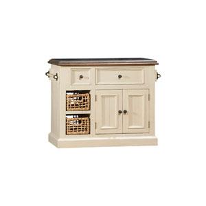 Tuscan Retreat ® Medium Granite Top Kitchen Island with 2 Baskets - Country White Finish