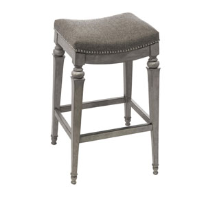 Vetrina Gray Backless Non-Swivel Counter Stool with Gray Fabric