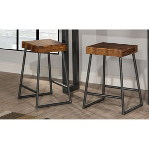 Emerson Manufactured Live Edge Square Non-Swivel Backless Counter Stool