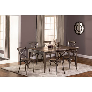 Lorient 7-Piece Charcoal Gray Rectangle Dining Set with X Back Dining Chair
