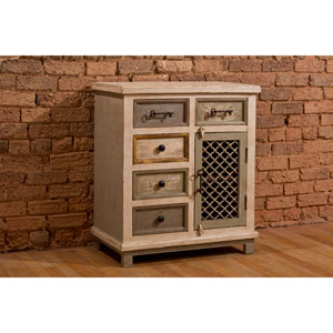 LaRose Five Drawer Accent Cabinet with Decorative Wire Door