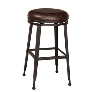 Hale Black with Copper Highlight Backless Swivel Counter Stool