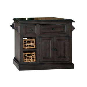 Tuscan Retreat ® Medium Granite Top Kitchen Island with 2 Baskets - Weathered Gray Finish