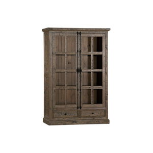 Tuscan Retreat Aged Gray Finish Double Door Cabinet