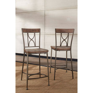 Paddock Brushed Steel Metal and Distressed Wood Non-Swivel Counter Height Stool, Set of 2
