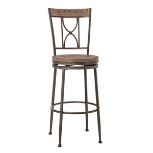 Paddock Swivel Counter Stool Brushed Steel Metal and Distressed Wood