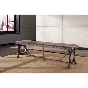 Paddock Brushed Steel Metal and Distressed Wood Bench