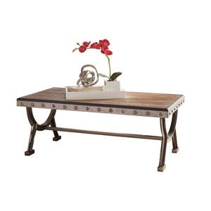 Paddock Brushed Steel Metal and Distressed Wood Coffee Table