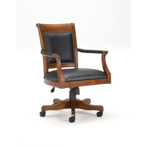 Kingston Light Cherry Game Chair with Square Leather Back