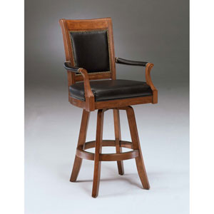 Kingston Light Cherry Swivel Barstool with Square Leather Back