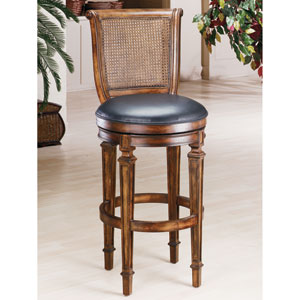 Dalton Distressed Cherry Swivel Cane Back Barstool with Black Leather