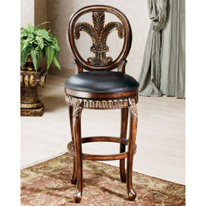 Fleur de Lis Distressed Cherry with Copper Highlights Counter Stool