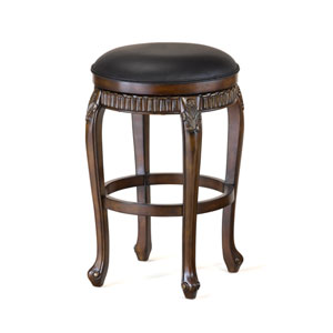 Fleur de Lis Distressed Cherry with Copper Highlights Backless Swivel Counter Stool with Black Leather