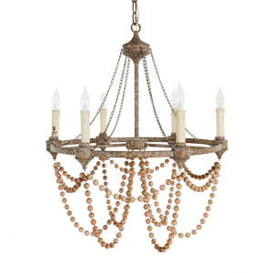 Nadia White Washedwood and Rust Six-Light Chandelier