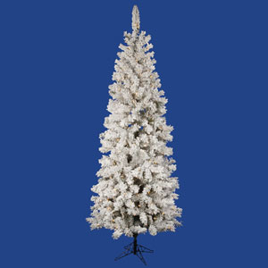 Flocked White on Green 4.5 Foot Pacific LED Christmas Tree with 150 Warm White Lights