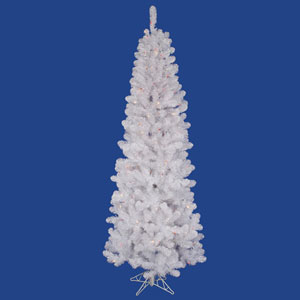 White Salem Pencil Pine 6.5 Ft. Artificial Tree with 165 Multi Colored LED Lights