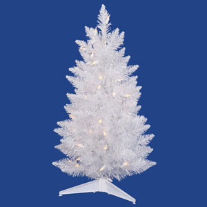 Crystal White Spruce 3 Ft. Artificial Pencil Tree with 55 Multi Colored LED Lights