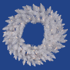 Crystal White Spruce 36 Inch Wreath with 100 Clear Lights