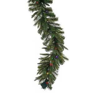 Cashmere Pine 14-Inch Garland w/100 Multi-color Italian LED Lights and 240 Tips