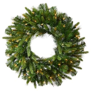 Green Cashmere Pine 30-Inch Wreath with 50 Warm White LED Lights
