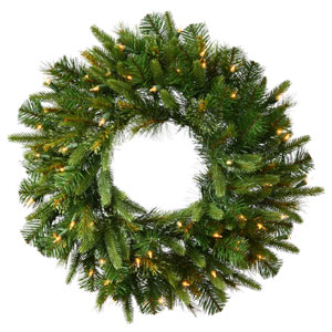 Green 84-Inch Cashmere LED Wreath with 400 Warm White Lights