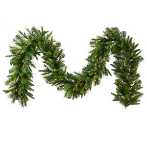 Cashmere Pine 14-Inch Garland w/30 Warm White LED Mini Italian - Battery Operated Lights and 160 Tips