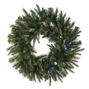 Cashmere Pine 30-Inch Wreath w/50 Multi-color LED Mini Italian - Battery Operated Lights and 155 Tips