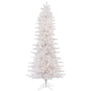 Crystal White 7.5 Foot Slim Pine Christmas Tree with 500 Warm White Lights
