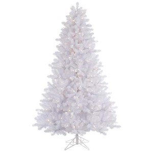 Crystal White Slim Pine 7.5 Foot x 55-Inch Christmas Tree with 650 Warm White LED Lights