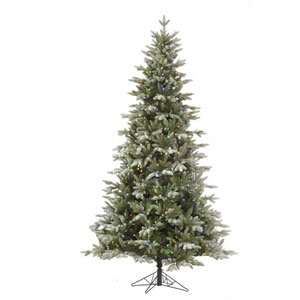 Green 6.5 Foot Frosted LED Balsam Fir Tree with 450 Multicolor Lights