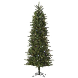 Carolina Green Pencil Spruce 6.5 Foot x 34-Inch Christmas Tree with 350 Multi Color LED Lights