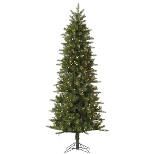 Green 7.5 Foot Carolina Pencil Spruce Christmas Tree with 450 Clear Lights