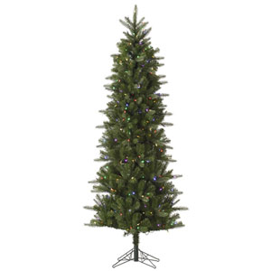 Green 12 Foot LED Carolina Pencil Spruce Tree with 800 Multicolor Lights