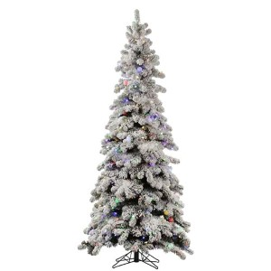 Flocked Kodiak 6 Foot x 36-Inch Christmas Tree with 450 Multi Color LED Lights