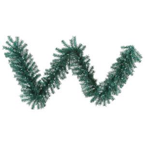 Aqua 9 Foot Tinsel Garland with 100 Teal Lights
