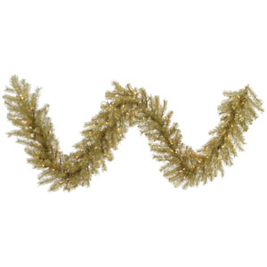 Gold 9 Foot Tinsel Garland with 100 Clear Lights