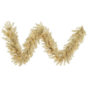 9 Ft. White and Gold Tinsel Garland