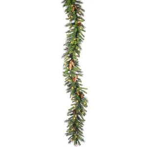 Green Cheyenne 9 Foot x 12-Inch Garland with 50 Warm White LED Light and 240 Tips