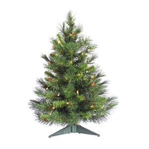Cheyenne Pine w/Cones 36-Inch Tabletop w/100 Clear Dura-Lit Lights and 115 Tips