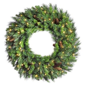 Green Cheyenne Pine 60-Inch Wreath with 200 Warm White LED Lights