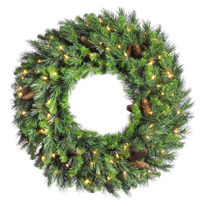 Green 96-Inch LED Cheyenne Pine Wreath with 750 Warm White Lights
