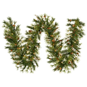 Mixed Country Pine 9-Foot Garland w/50 Clear Dura-Lit Lights and 200 Tips