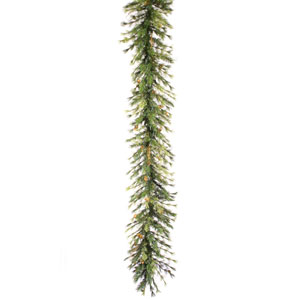 9-Ft. x 16-In. Pre-Lit Mixed Country Garland with 100 Clear Lights