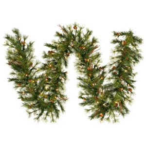 Green 9 Foot LED Mixed Country Garland with 100 Warm White Lights