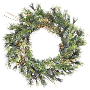 Green Mixed Country Pine Wreath 16-inch