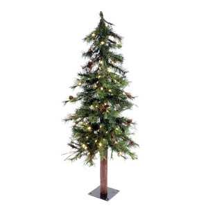 Mixed Country Green Alpine 7 Foot x 44-Inch Christmas Tree with 250 Warm White LED Lights