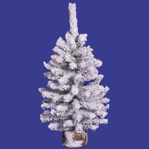 Flocked White on Green Flocked Mini Pine Tabletop Tree 9-inch